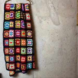 Vintage crochet patchwork Afghan bright florals